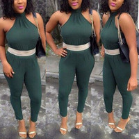 BrytCouture Sexy Sleeveless One-piece Skinny Jumpsuits - Green