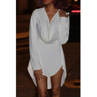 BrytCouture Sexy Asymmetrical Design Long Sleeves V-Neck Mini Dress - White
