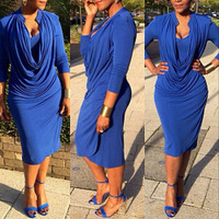 Three Quarter Sleeves Drapes Design Blue Blending Knee Length Dress