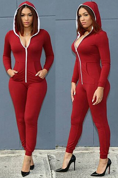 cheaper 2019 original On Clearance BrytCouture Zipper Design Red Cotton Blend Hooded One-piece Jumpsuit
