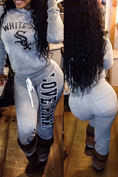 BrytCouture Long Sleeves Letters Print Grey Cotton Blend Two-piece Jumpsuit Set