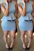 BrytCouture Casual O Neck Short Sleeves Grey Qmilch Knee Length Peplum Dress