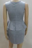 BrytCouture Casual O Neck Short Sleeves Grey Qmilch Knee Length Peplum Dress back