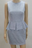 BrytCouture Casual O Neck Short Sleeves Grey Qmilch Knee Length Peplum Dress front