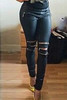 BrytCouture  Zipper Design Solid Black Cotton Blend Skinny Pants