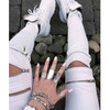 BrytCouture  Zipper Design Solid White Cotton Blend Skinny Pants