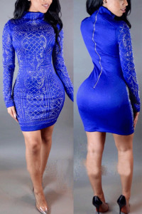Mandarin Collar Long Sleeves Blue Polyester Knee Length Dress