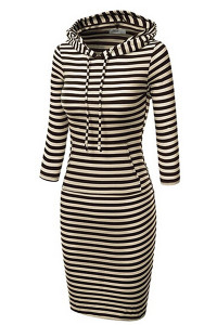 BrytCouture Long Sleeves Stripes Polyester Sheath Knee Length Pencil Dress