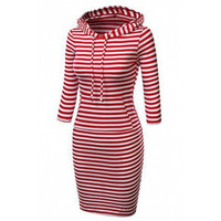 BrytCouture Long Sleeves Stripes Polyester Sheath Knee Length Pencil Dress - Red