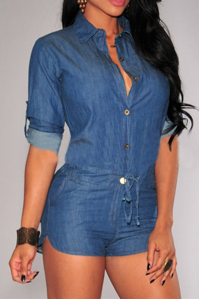 BrytCouture Denim Style Long Sleeves Blue Mini Women Jumpsuits