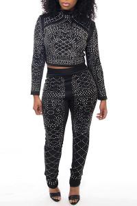 BrytCouture Casual Black Two-piece Jumpsuit Set