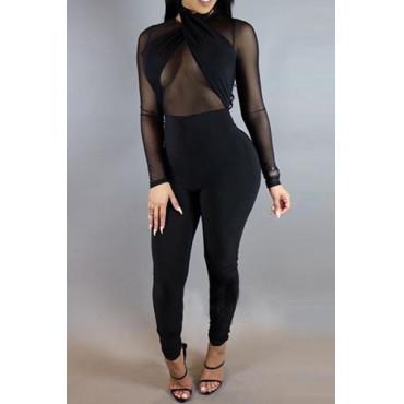 Sexy Round Neck Gauze Patchwork Black Qmilch One-piece Skinny Jumpsuits