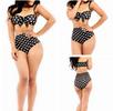 Ruffled Polka Dot Print Women High Waist Swimsuit