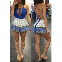 BrytCouture Sleeveless Cross Lace-up Cotton Blends One-piece Jumpsuits