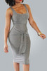 BrytCouture Casual Spaghetti Strap Cotton Blend Bandage Dress