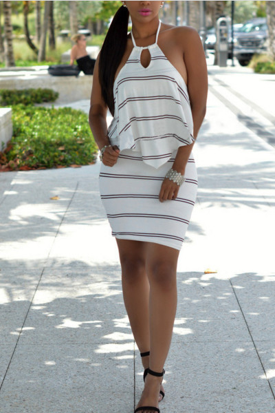 Sexy Round Neck Off The Shoulder Striped Backless White Mini Dress