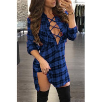 Long Sleeves Plaids Hollow-Out Polyester Mini Dress - Blue