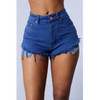 BrytCouture Mid Waist Shorts Battered Blue Denim Shorts