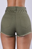 BrytCouture Stylish High Waist Broken Holes Green Denim Skinny Shorts