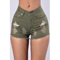 BrytCouture Stylish High Waist Broken Holes Green Denim Skinny Shorts