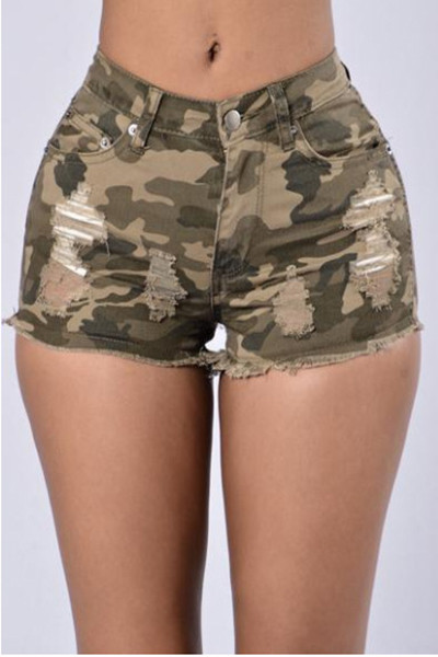 6c75b382f6 BrytCouture Stylish Mid Waist Printed Camouflage Color Denim Skinny Shorts