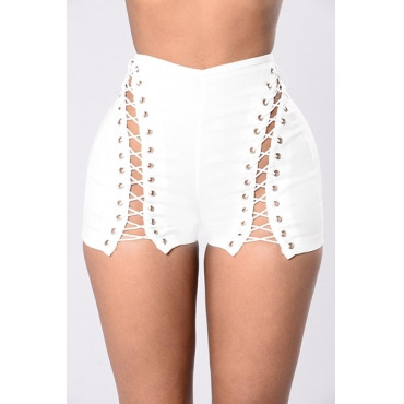 BrytCouture Sexy High Waist Hollow-out White Polyester Skinny Shorts