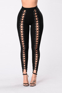 BrytCouture Stylish High Waist Hollow-out Black Polyester Leggings