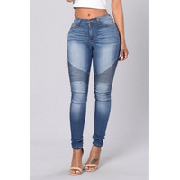 BrytCouture Stylish High Waist Patchwork Light Blue Cotton Jeans