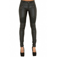 BrytCouture Trendy High Waist Patchwork Black PU Skinny Pants