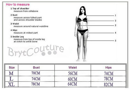 Bikini Beach Swimwear Size Chart - Measurement guide - BrytCouture