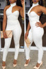 BrytCouture Round Neck Backless White One-piece Skinny Jumpsuit