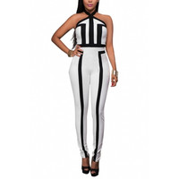 BrytCouture Sleeveless White Patchwork One-piece Skinny Jumpsuit
