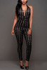 BrytCouture Sleeveless Plaids Black Polyester One-piece Skinny Jumpsuit