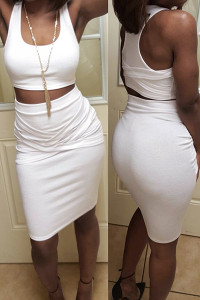 BrytCouture Solid White Sleeveless U Neck Two Pieces