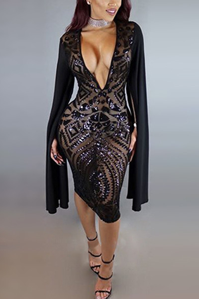 exceptional range of colors attractive colour unique style Sexy Deep V Neck Long Sleeves Black Polyester Sheath Knee Length Dress