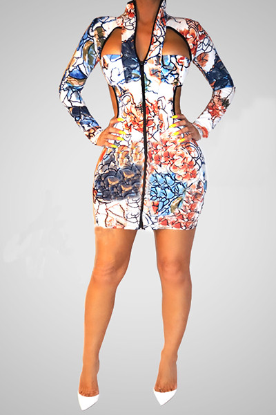 e772908e342b Turtleneck Long Sleeves Zipper Design With Hollow-out Twilled Satin Sheath  Mini Dress