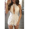BrytCouture Hollow-out White Lace One-piece Skinny Jumpsuits