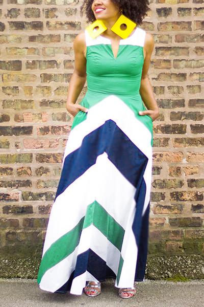 Bohemian V Neck Sleeveless Striped Printed Blue Polyester Maxi Dress