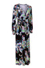 Vintage Style V Neck Long Sleeves Printed Qmilch Maxi Dress