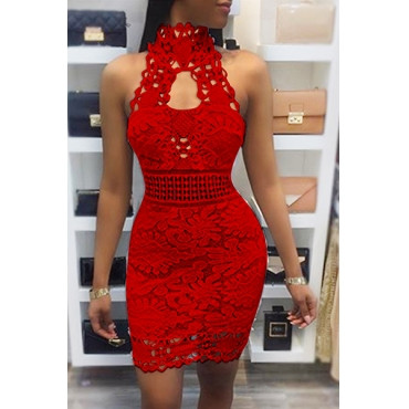 bf6b46d5ce12 BrytCouture Sexy Backless Red Lace Sheath Mini Dress