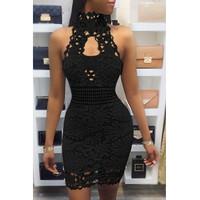 BrytCouture Sexy Backless Black Lace Sheath Mini Dress