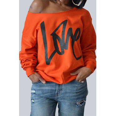 Round Neck Long Sleeves Orange Pullover