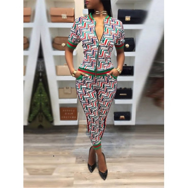 Stylish Zipper Design Cotton Two-piece Pants Set
