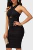 BrytCouture Sleeveless Drape Design Black Knee Length Dress