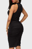 BrytCouture Sleeveless Drape Design Black Knee Length Dress