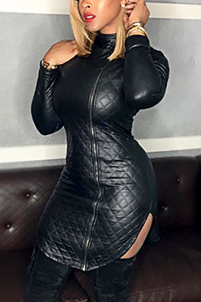 BrytCouture Turtleneck Black Zipper Design Mini Leather Dress