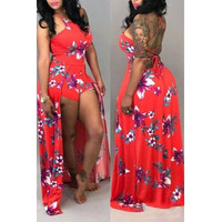 BrytCouture Floral Print Halter Neck Red Qmilch One-piece Jumpsuit