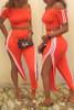 BrytCouture Casual Striped Side Slit Orange Two-piece Pants Set