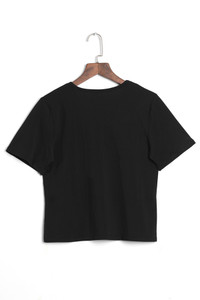 BrytCouture Casual Round Neck Printed Black Polyester T-shirt
