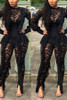 BrytCouture One-piece Tassel Design Black Lace Jumpsuit